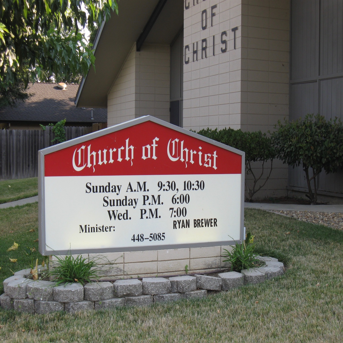 Vacaville church of Christ,  401 Fir Street,  CA  95688